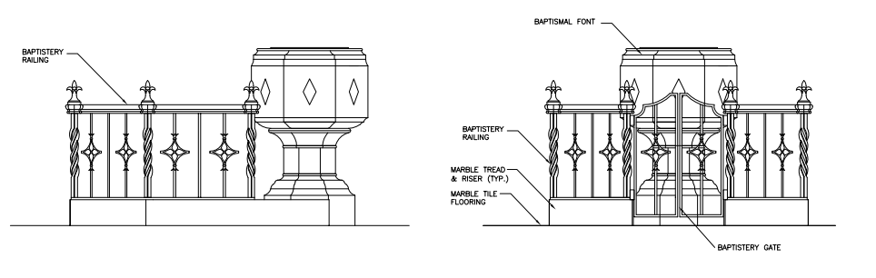 An elevation of the baptismal font. It will be surrounded by a wrought-iron gate. (click to enlarge)