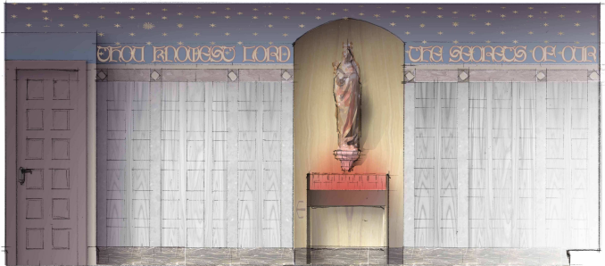 A color elevation of the crypt chapel wall. The concept of the columbarium is marble with a barrel ceiling. (click to enlarge)