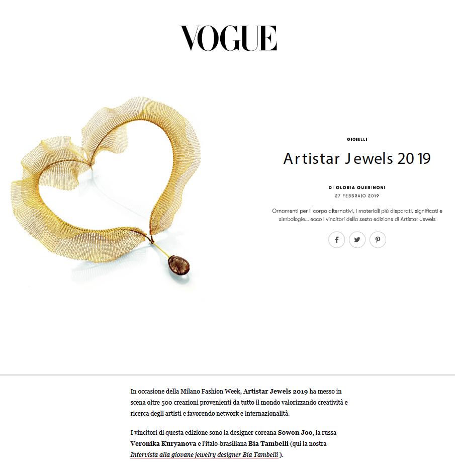 VOGUE MAGAZINE - ARTISTAR JEWELS EXHIBITION 2019
