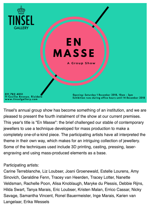 EN MASSE GROUP EXHIBITION - TINSEL GALLERY 2018