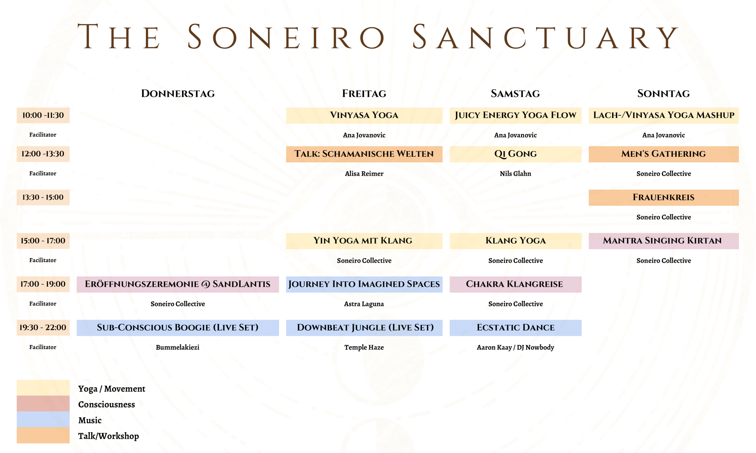 This was the program for our latest Soneiro Sanctuary at the About You Pangea Festival, August 2019