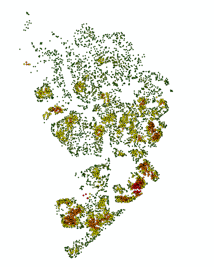 Initial map showing just the point and their density values. The red shows us where the high density clusters are, followed by yellow then green.