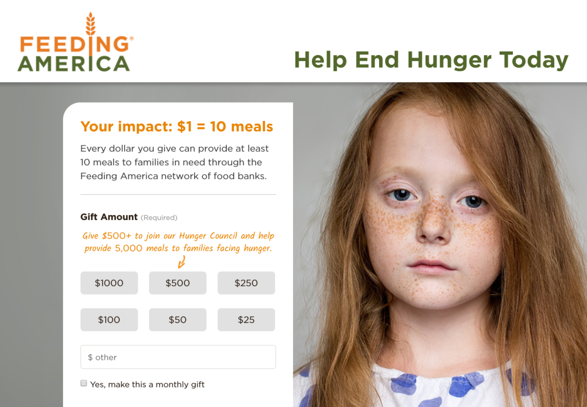 Increase online donation conversion rate by providing social proof like feeding america