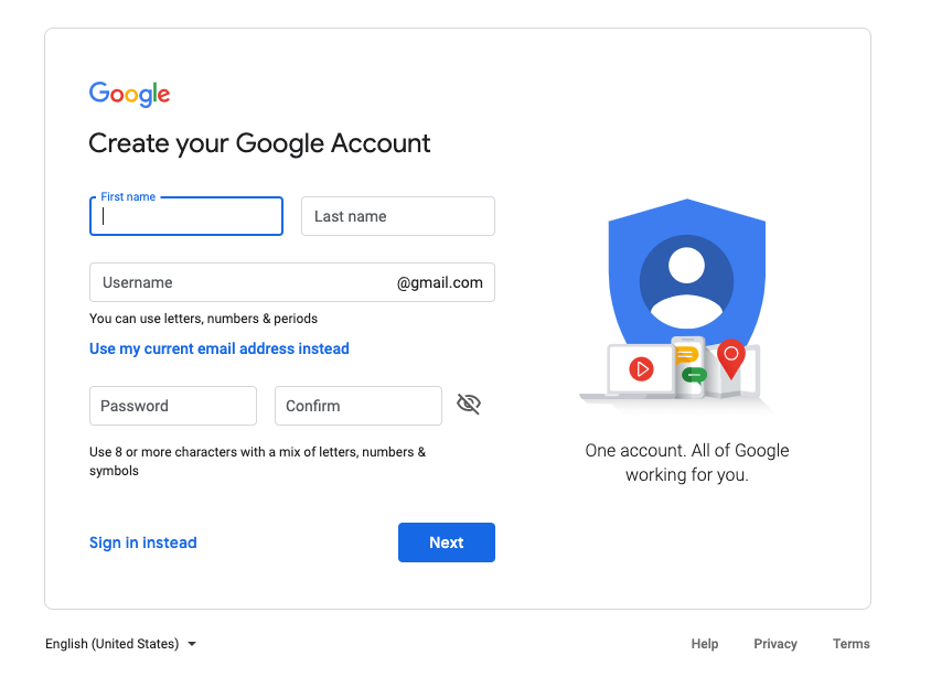 Sign-up page to create gmail account