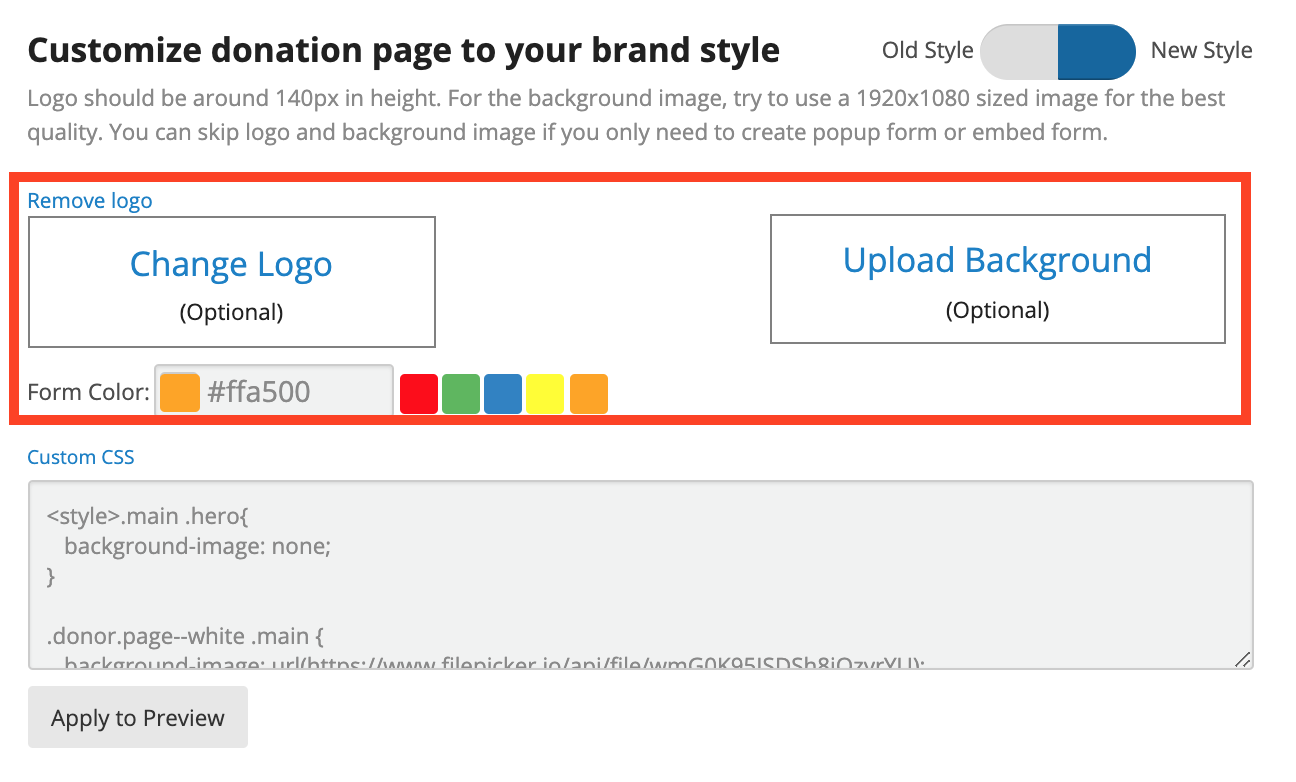 Customize donation page to your brand style