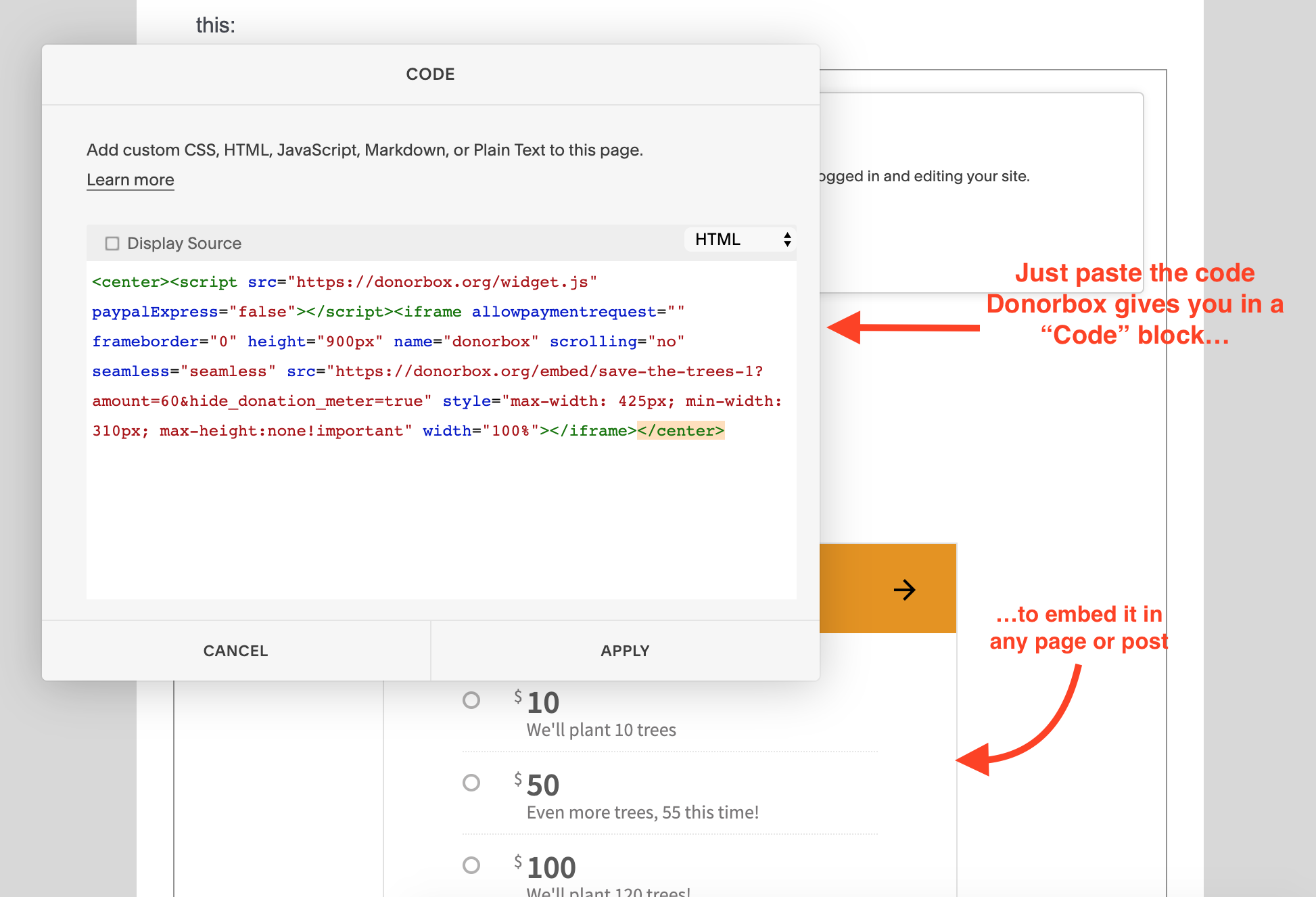 how to create a donation page on squarespace