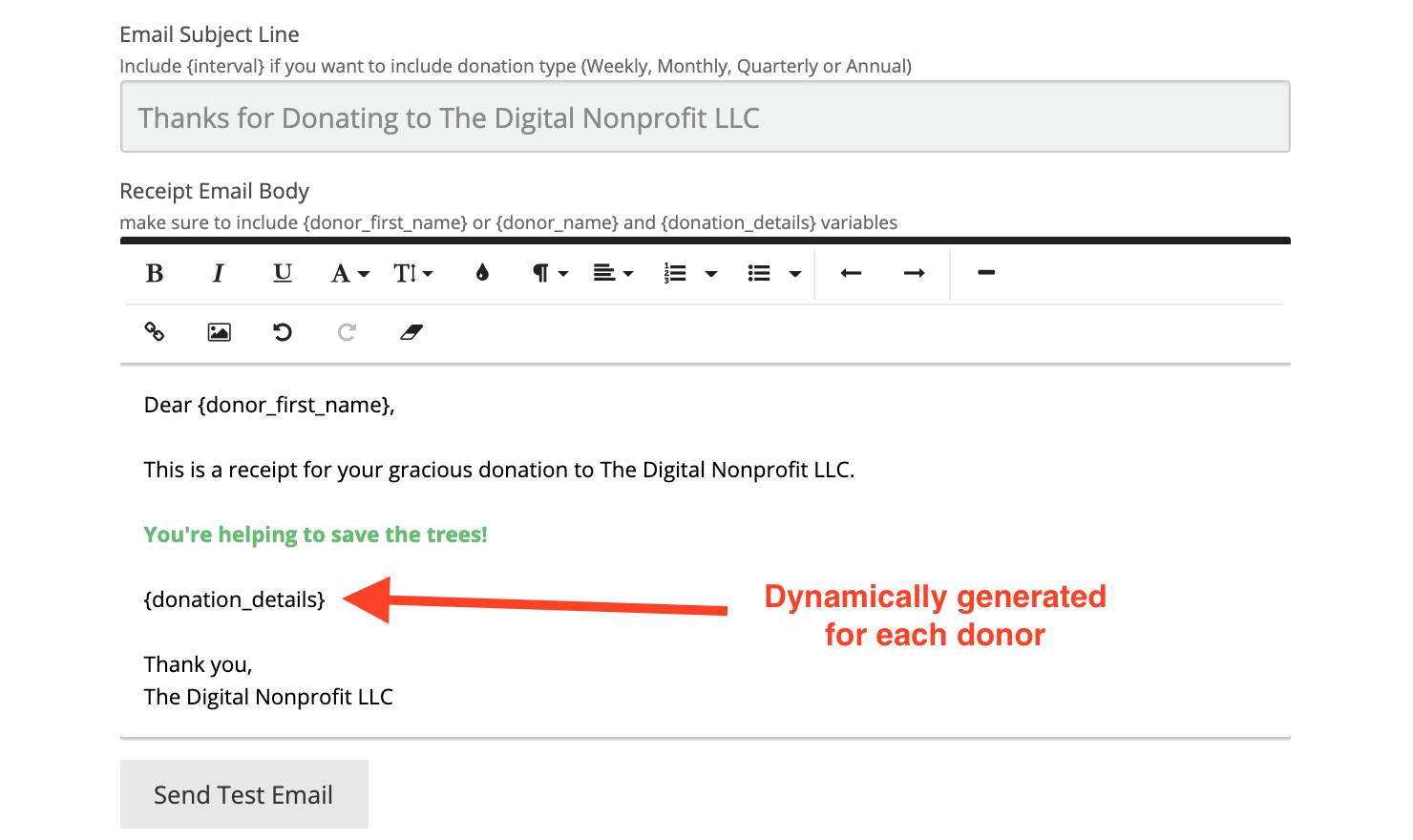 Email confirmation from donorbox