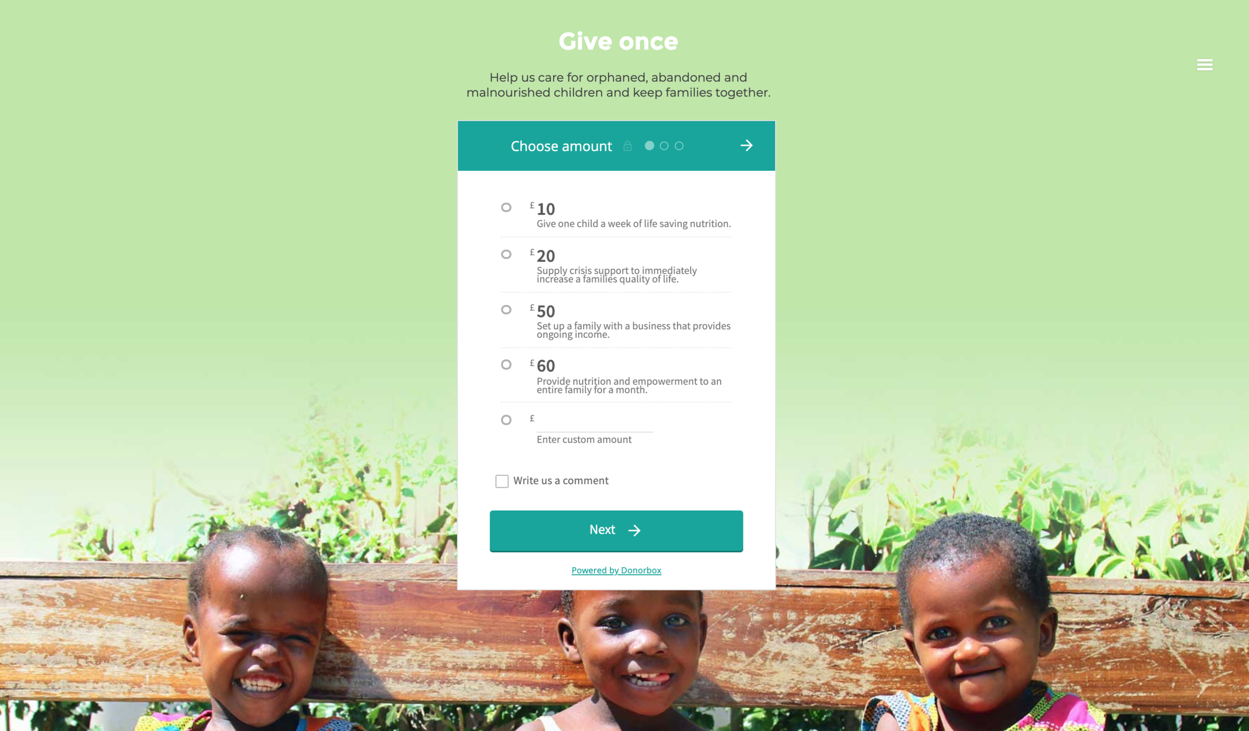 example of website using donorbox