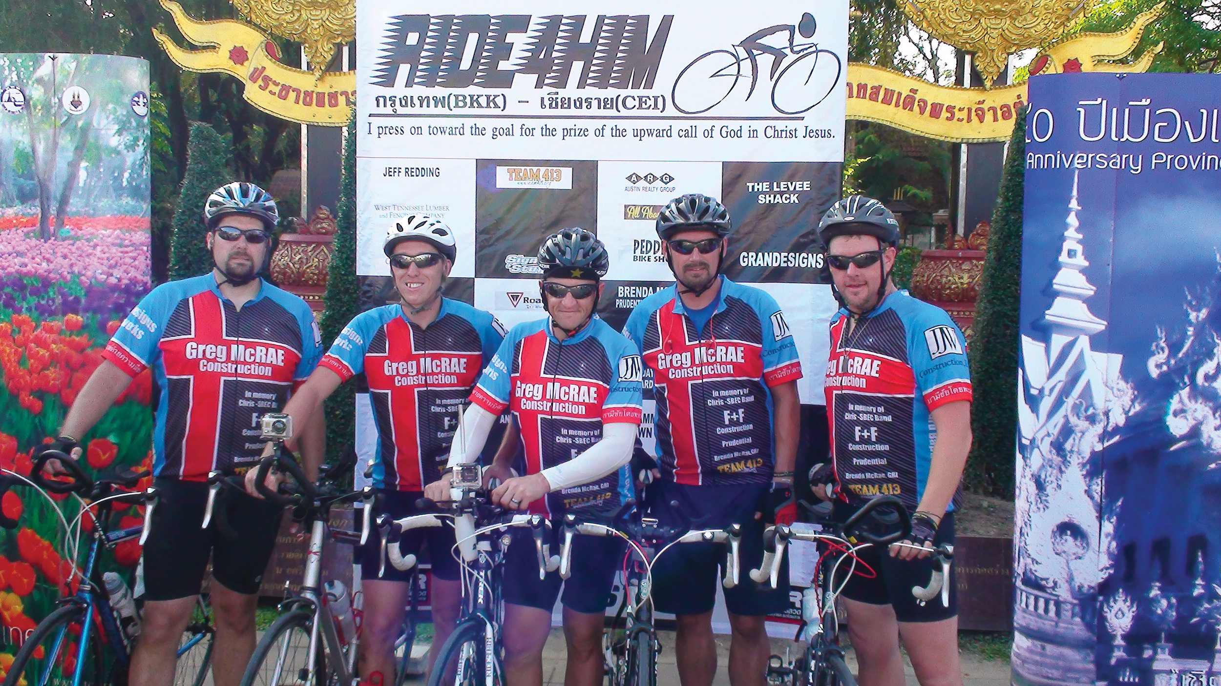 Bobby Cavette, center, and the Ride4Him team shown on their 2018 Tour of Hope fundraising ride for Chiang Rai Children's Home.