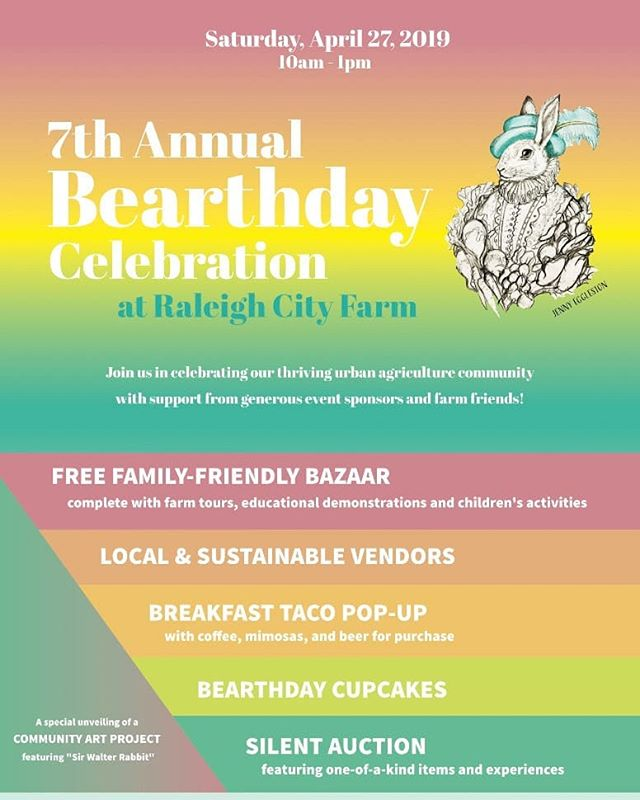 Stop by CAFN's table at @raleighcityfarm 's 7th #Bearthday Celebration this Saturday from 10 to 1 pm! #urbanagriculture #urbanfarming #community #foodsystem