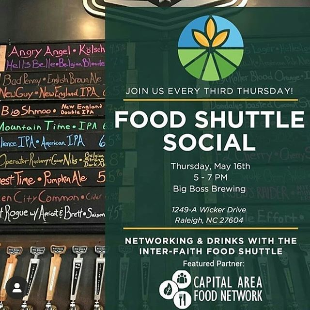 Hey CAFN and friends! The @foodshuttle asked us to team up with them as their #communitypartner for their May #FoodShuttleSocial next week, and we're so excited! Join us from 5-7 on 5/16 at Big Boss to learn about the latest food systems initiatives happening in Wake County over great beer and among great company.