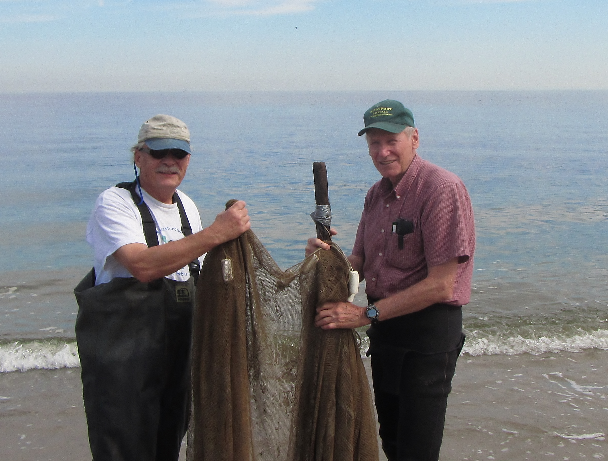 Frank Steimle (left) and Eugene W. Geer Jr (right) - they helped to start a series of organized seining events in 1971 along Raritan Bay and Sandy Hook Bay, NJ to show people what fish and crabs lived in local waters They were the inspiration for Save Coastal Wildlife's seining events along the Jersey Shore.