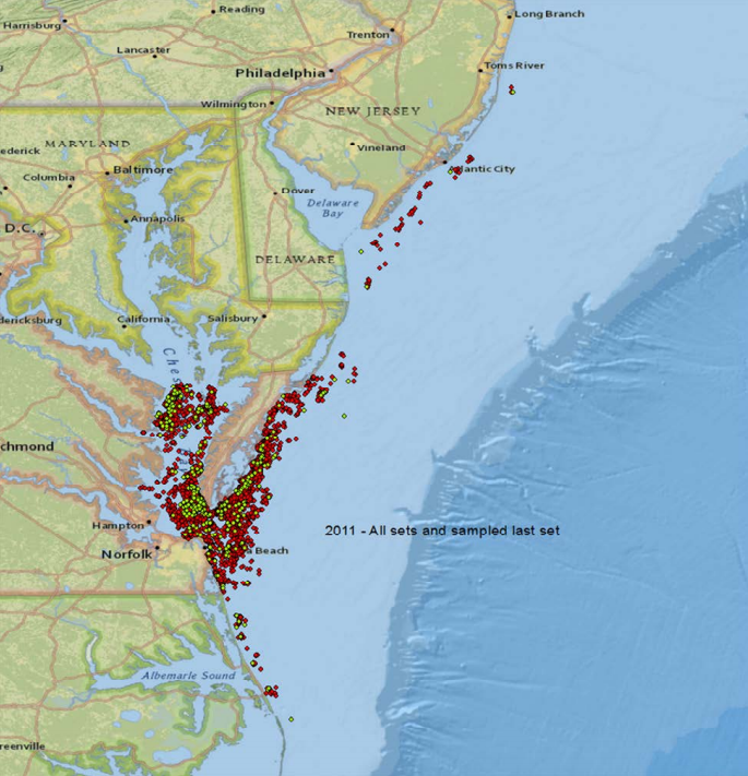 The map above shows where approximately Omega Protein fishes on the East Coast for menhaden.