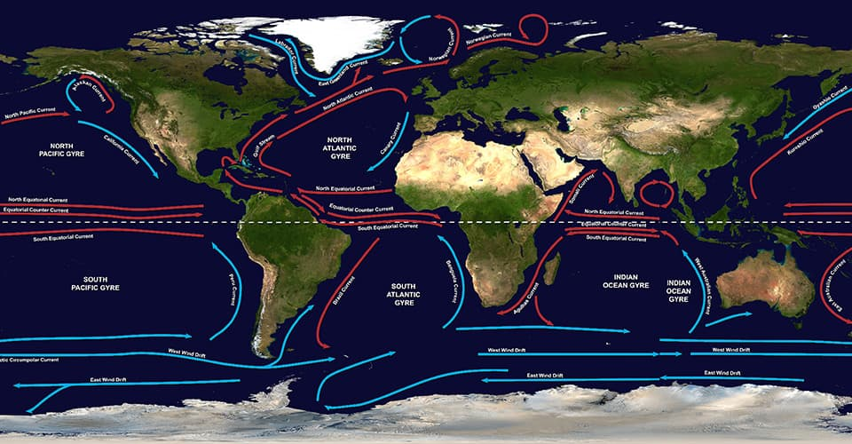 "Once in the ocean, plastic pollution tends to accumulate in gyres, which are large systems of rotating ocean currents. There are five major gyres: two in the Atlantic Ocean, two in the Pacific Ocean and one in the Indian Ocean. In the Pacific Ocean, the North Pacific Gyre is home to the ""Great Pacific Garbage Patch"", a large area that is approximately the size of Texas with debris extending 20 feet (6 meters) down into the water column. It's estimated that this ""plastic island"" contains 3.5 million tons of trash and could double in size in the next 5 years. In the Atlantic Ocean, the garbage patch sits hundreds of miles off the North American coast, covering a region between 22 and 38 degrees north latitude—roughly the distance from Cuba to Virginia. The Indian Ocean's garbage patch is centered roughly halfway between Africa and Australia. As with the Pacific garbage patch, plastic in both the Atlantic and Indian garbage patches can circulate in the ocean for years, posing health risks to fish, seabirds, sea turtles, and marine mammals that accidentally swallow or get entangled by the litter."