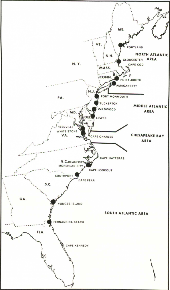 "Locations of menhaden reduction plants in 1955 (dots) and the areas for which statistics on catch and biology were compiled."" From: Reintjes, J. W. (1969) Synopsis of Biological Data on the Atlantic Menhaden, Brevoortia tyannus. FAO Fisheries Synopsis No. 42 U. US Department of the Interior, US Fish and Wildlife Service, Bureau of Commercial Fisheries – Circular 320-1969"