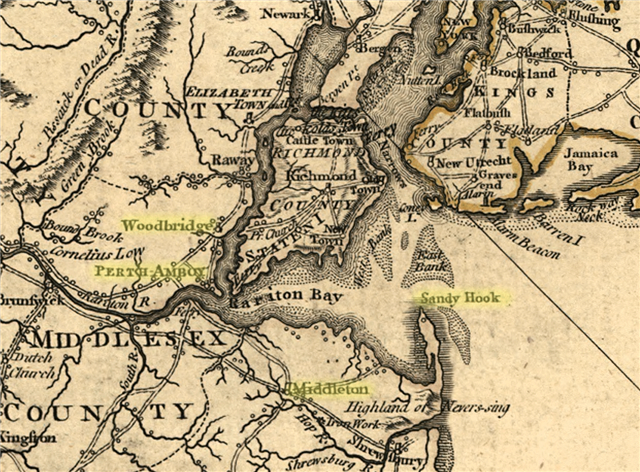 1795 Map of Raritan Bay & Sandy Hook Bay