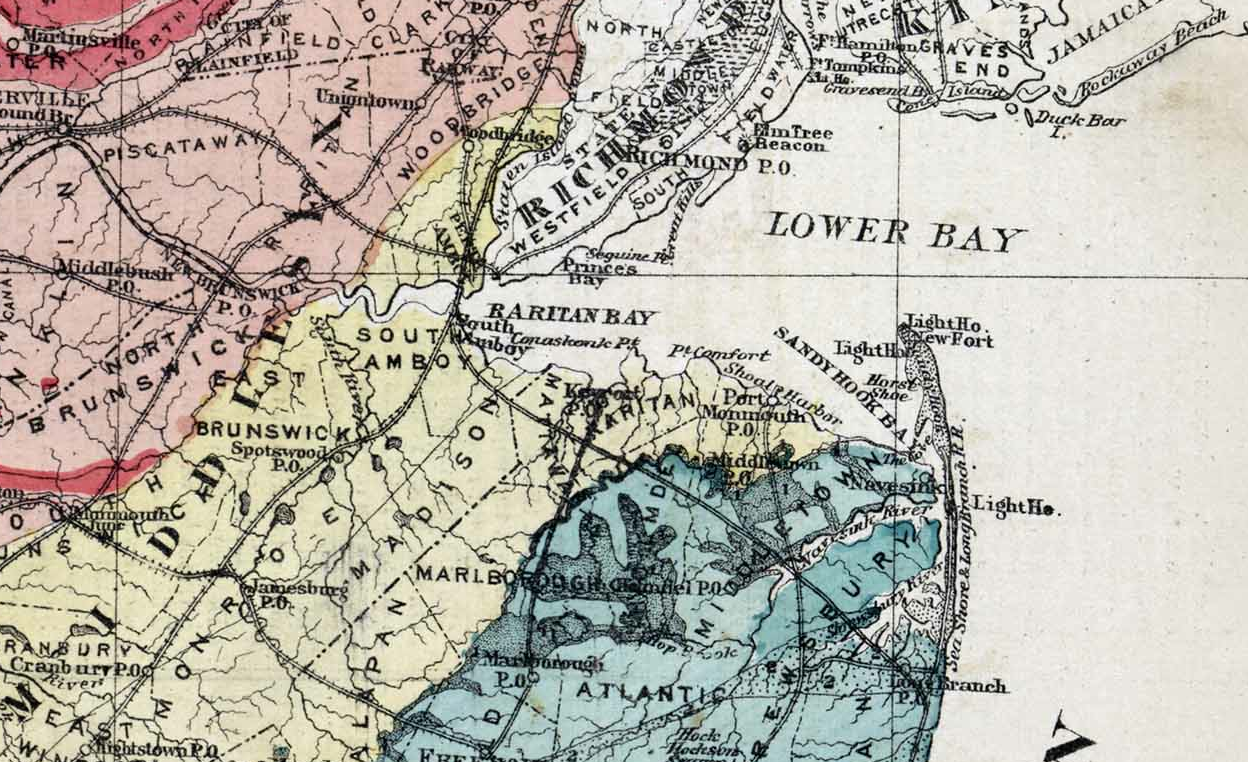 1872 Map of Raritan Bay & Sandy Hook Bay, New Jersey