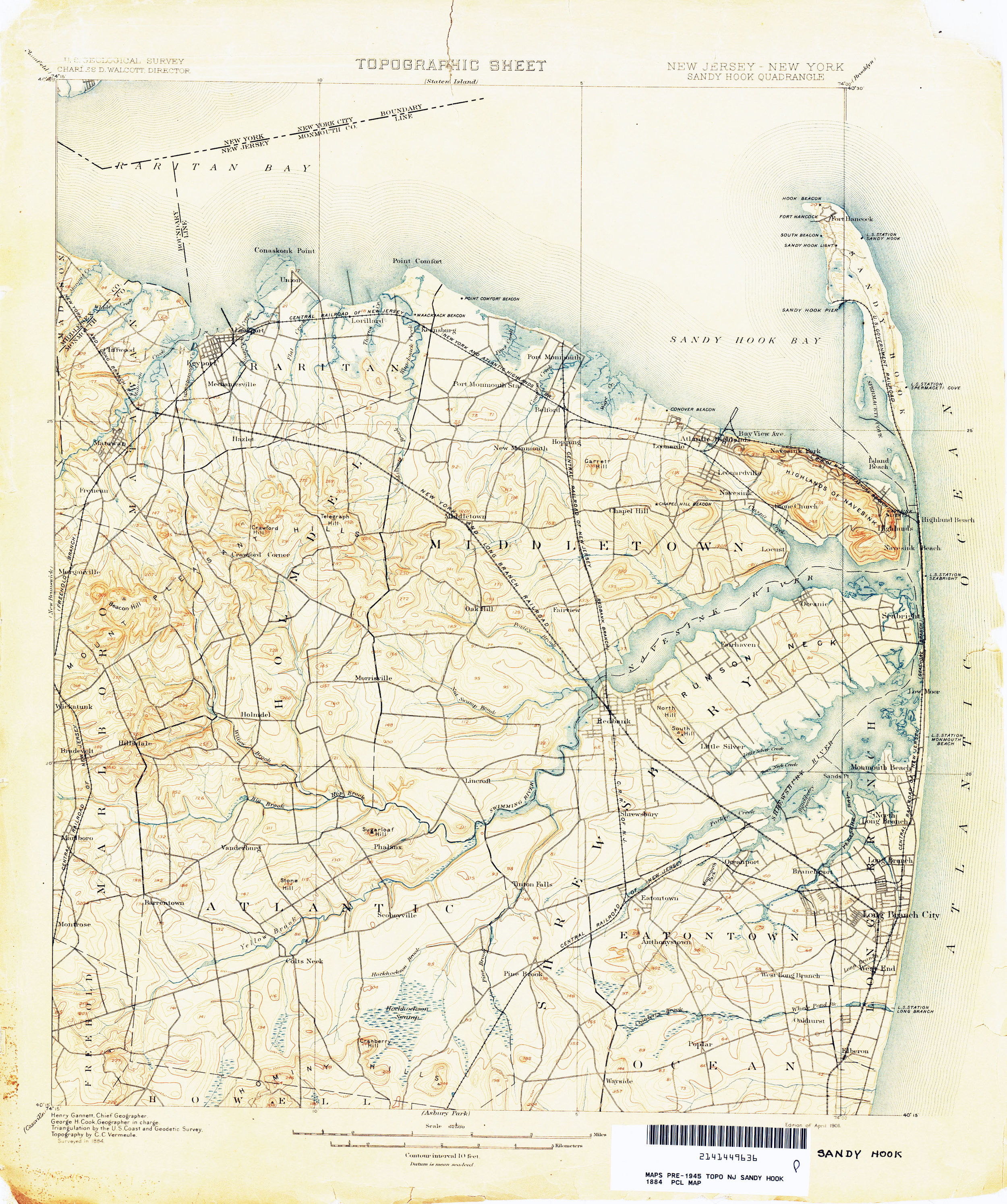 1884 Sandy Hook Bay Topographic Map
