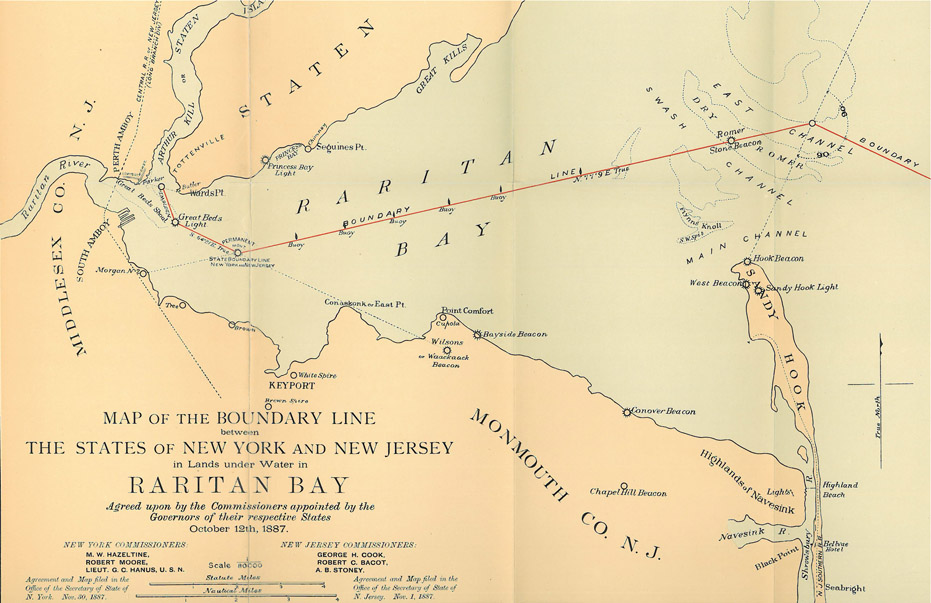 Map of the Boundary Line between the States of New York and New Jersey from the Joint Boundary Commission Report dated October 12, 1887