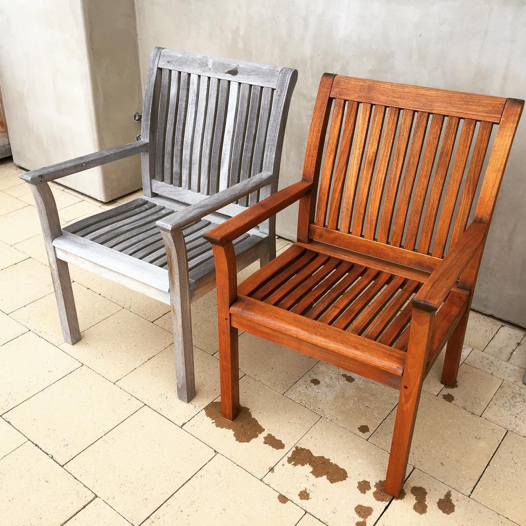you don't need to sand off the grey weathering, just scrub with a mild wood bleach to take out the grey and return the original rich teak color.