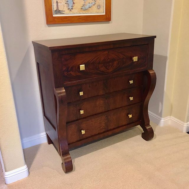 Refinished this beautiful mahogany dresser along with new hardware. Perfect! #encinitasworkshop