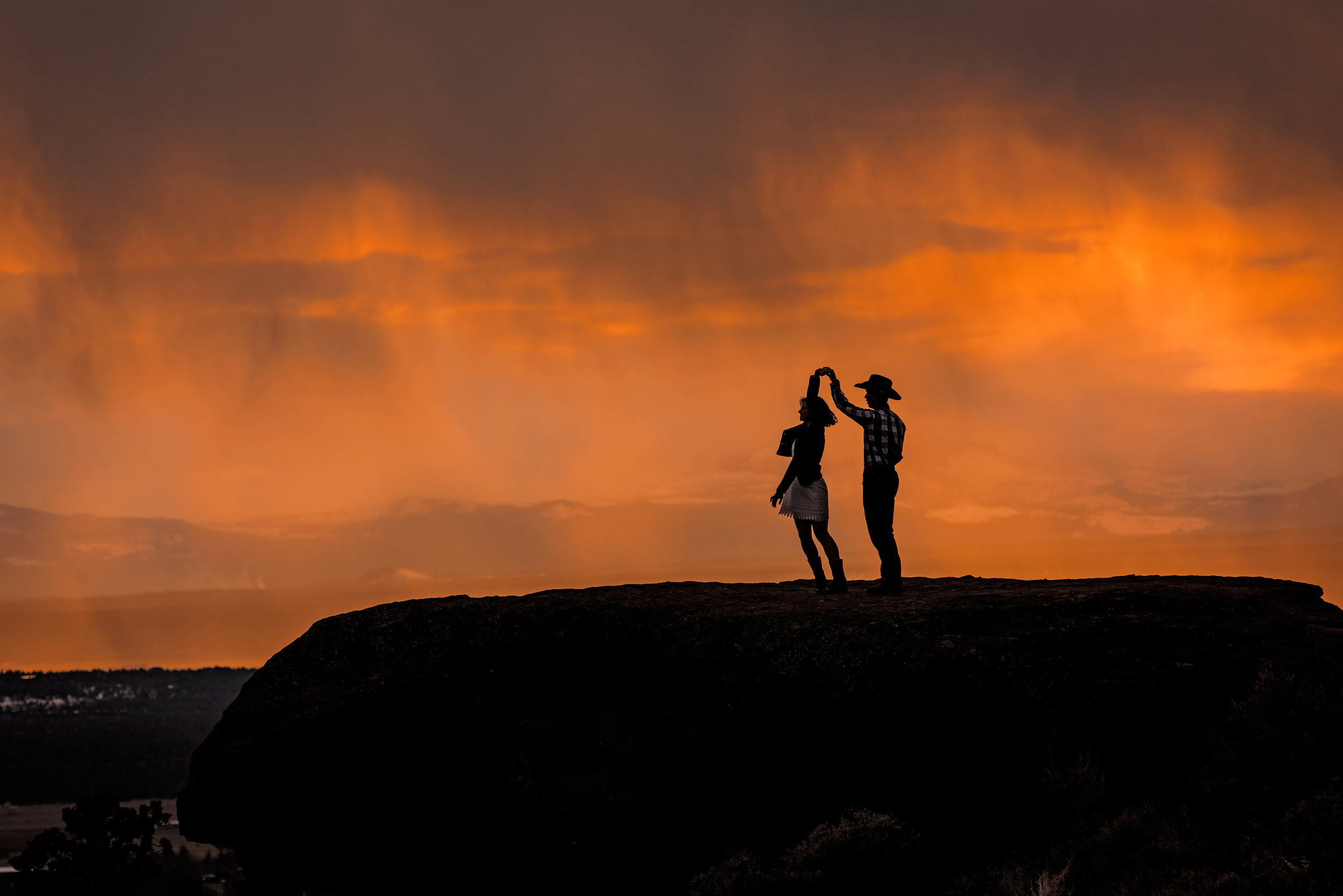 Steve and Ashley dancing on top of Smith Rock at sunset  The Perfect Image and Perfect Moment