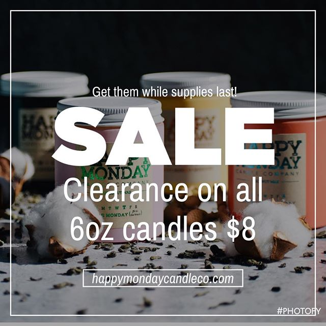 • Still haven't tried Happy Monday (🤦🏽‍♀️ shame on you) or do you need to stock up on your Happy Monday supply? 🤷🏽‍♀️ Well here's your chance. All 6 oz jars are on clearance for $8. Get yours while supplies last! • #happymondaycandleco #candles #hmcc #handmade #coconutwax #issasale #getyourswhilesupplieslast #indiebrand #girlboss #shoplocal #buylocal #blackownedbusiness #blackbusinesswomen #madelocally