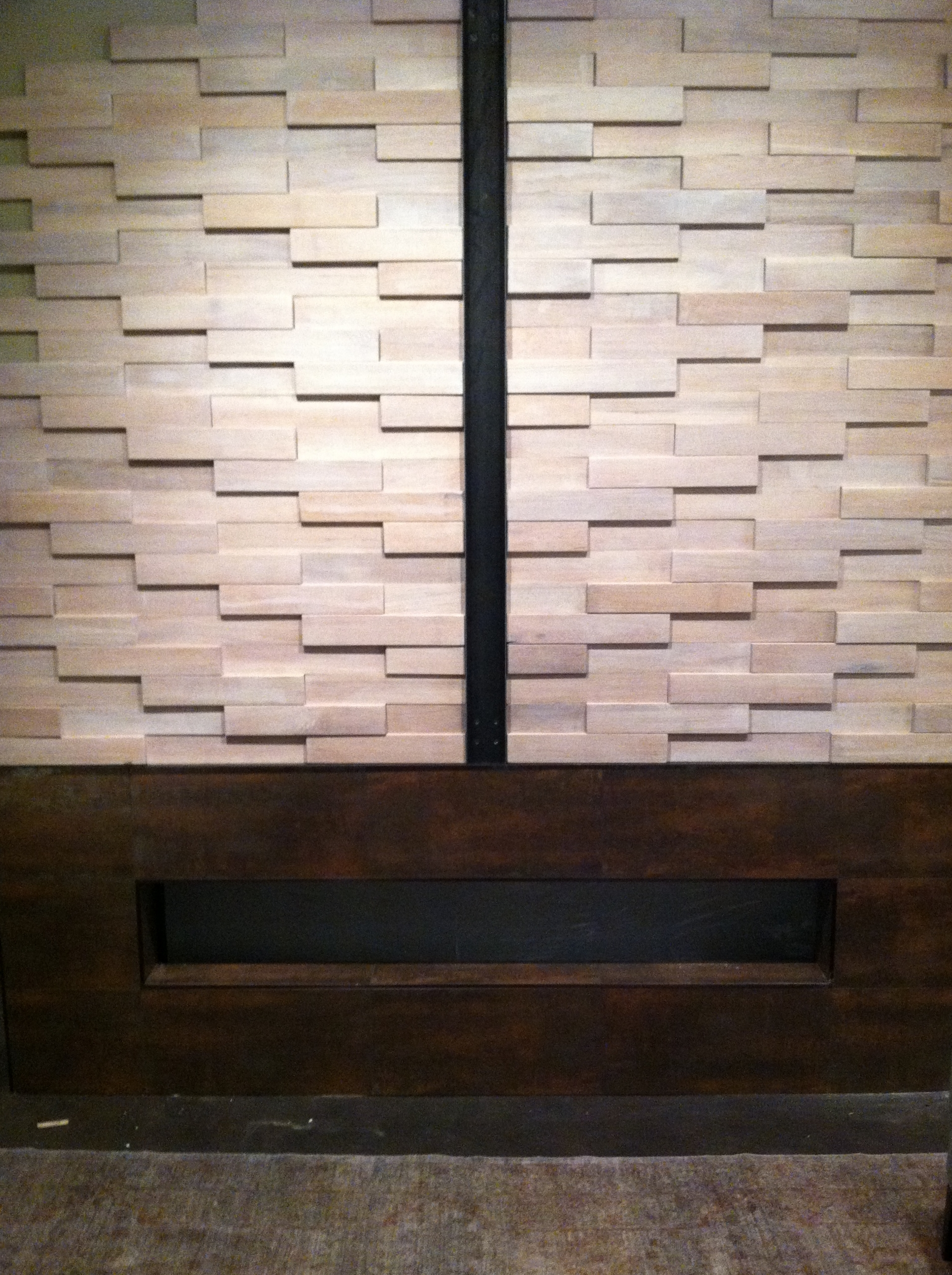 Habachy Designs Eutree White Oak Tile Wood Paneling Feature Accent Wall Fireplace