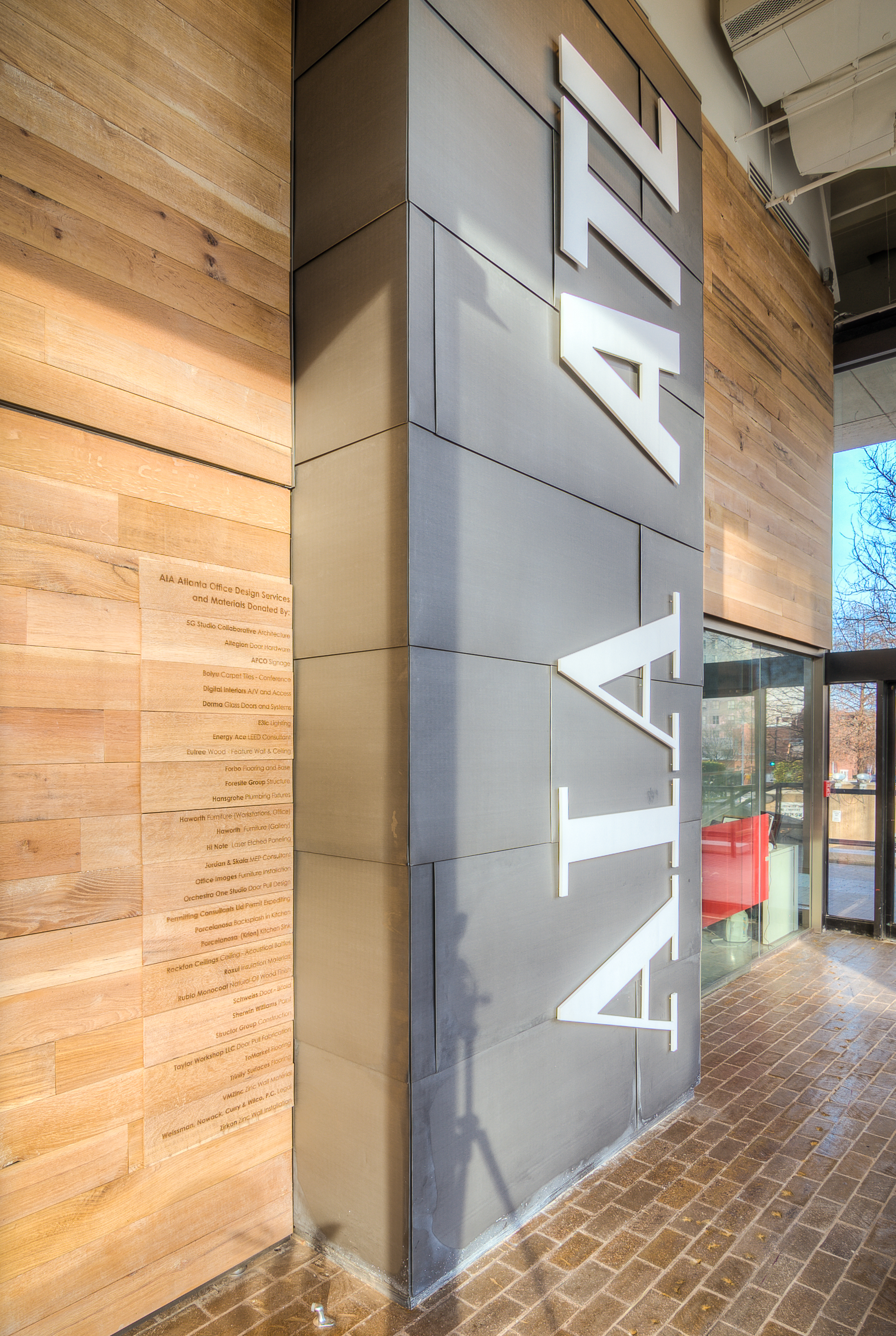 AIA Eutree Forest Free white oak wood paneling feature accent wall and ceiling