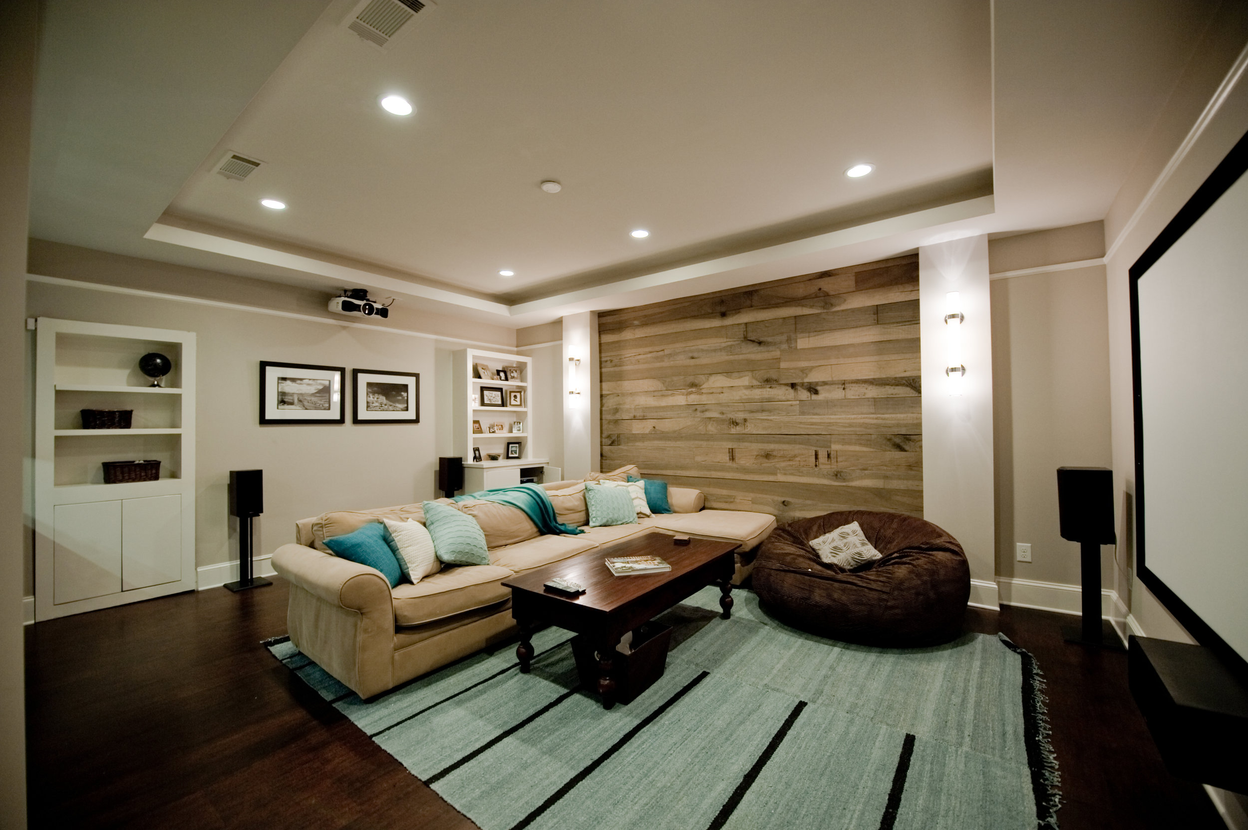 Heirloom Design Build Eutree Forest Free naturally weathered white oak wood paneling feature accent wall