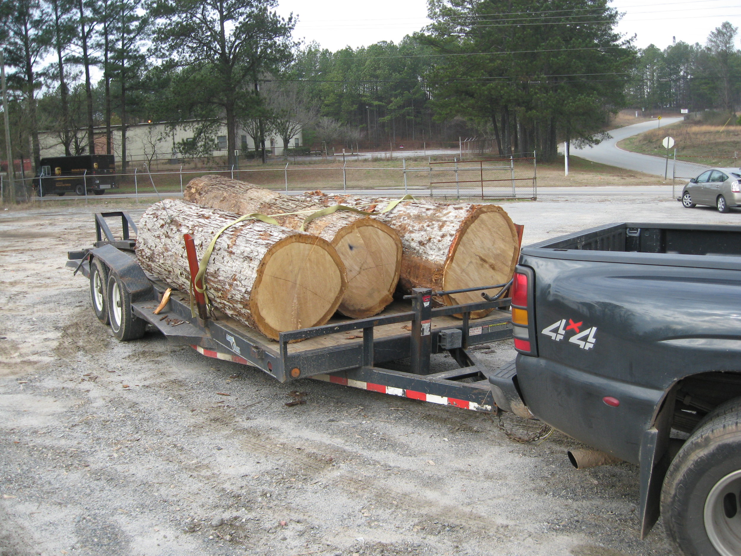 Three logs between 8-feet and 12-feet long are delivered to the Eutree mill just outside the city.