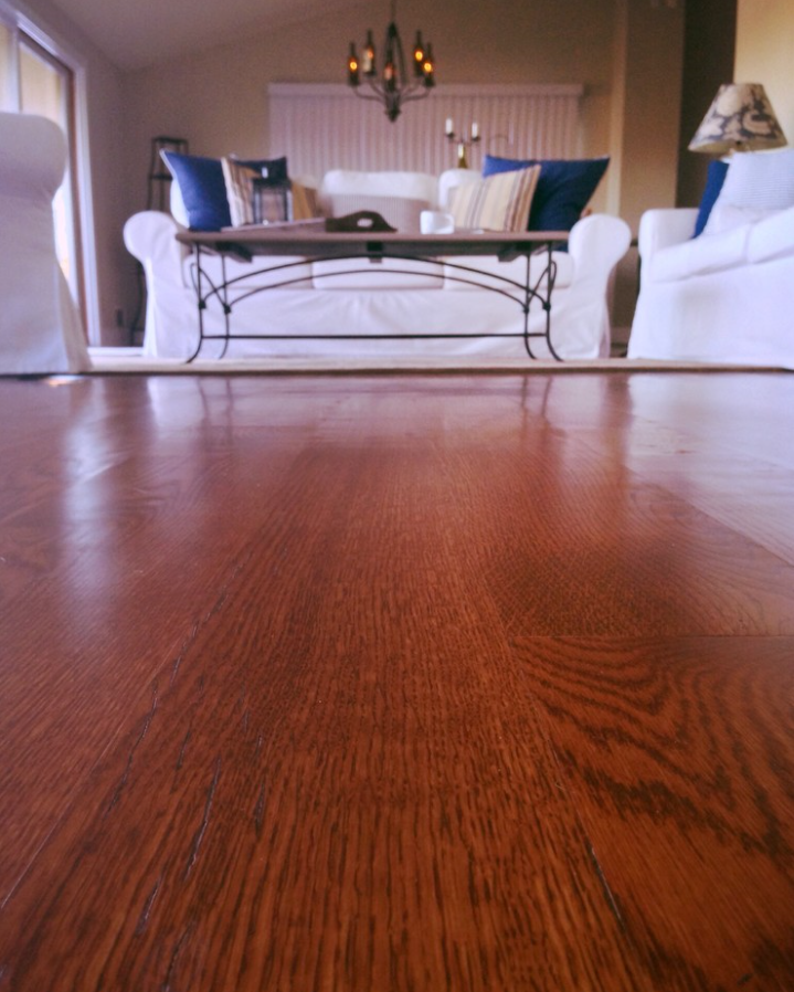 This wide-plank flooring is variable in width of 5, 6, and 7 inches. The lengths are 2-12 feet with an average length of 8 feet.