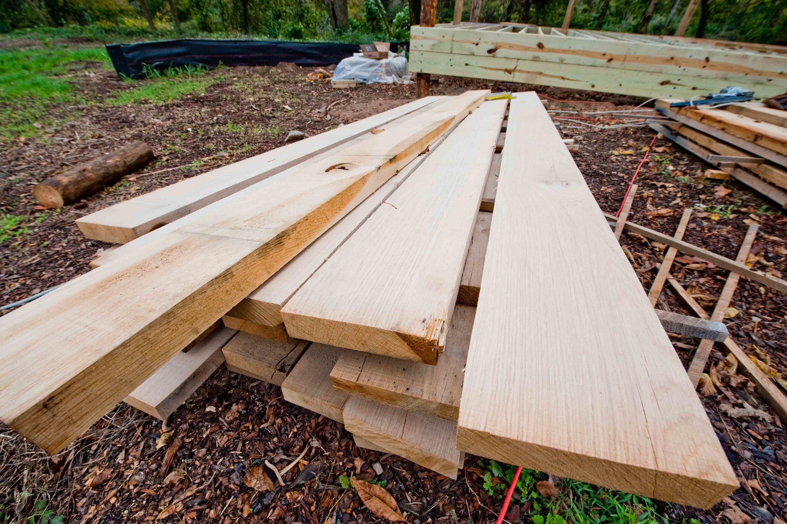 Urban Eco Group constructs an outdoor community stage from the white oak boards.