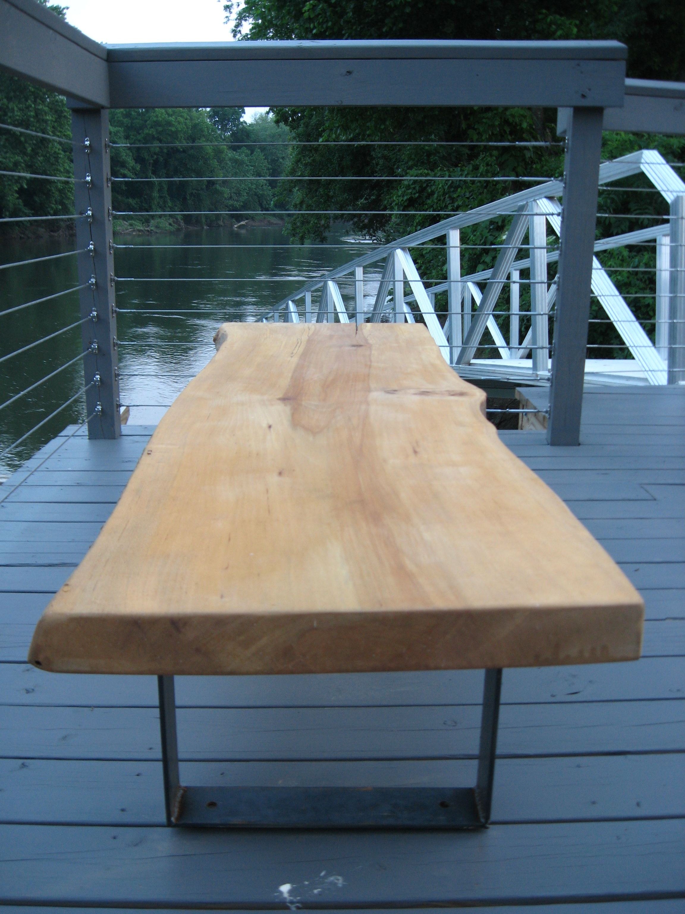 Urban Eco Group Eutree Root to Fruit Forest Free White Oak Wood Deck and live edge slab benches