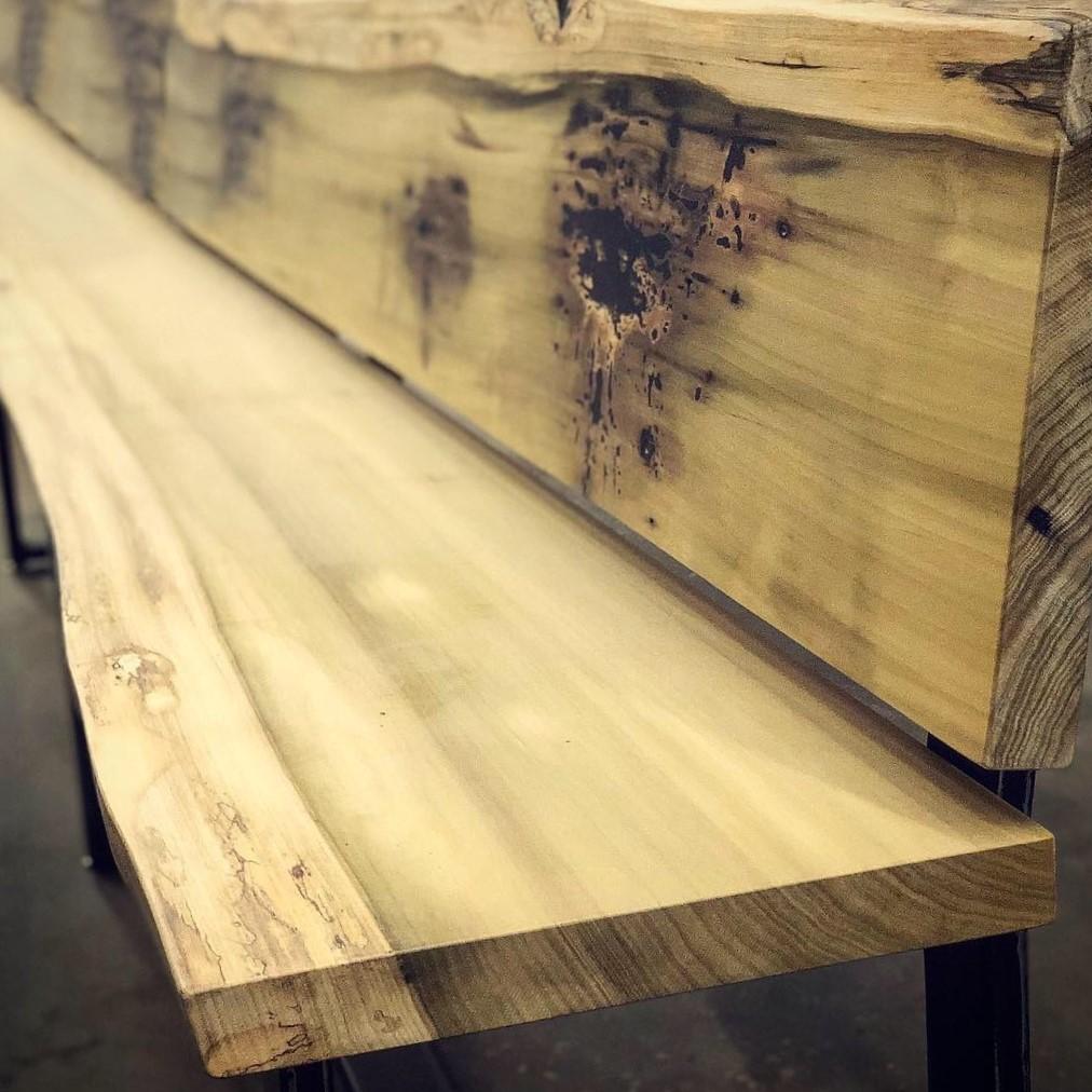 Nam Kitchen Eutree Live Edge Poplar Slab Bench
