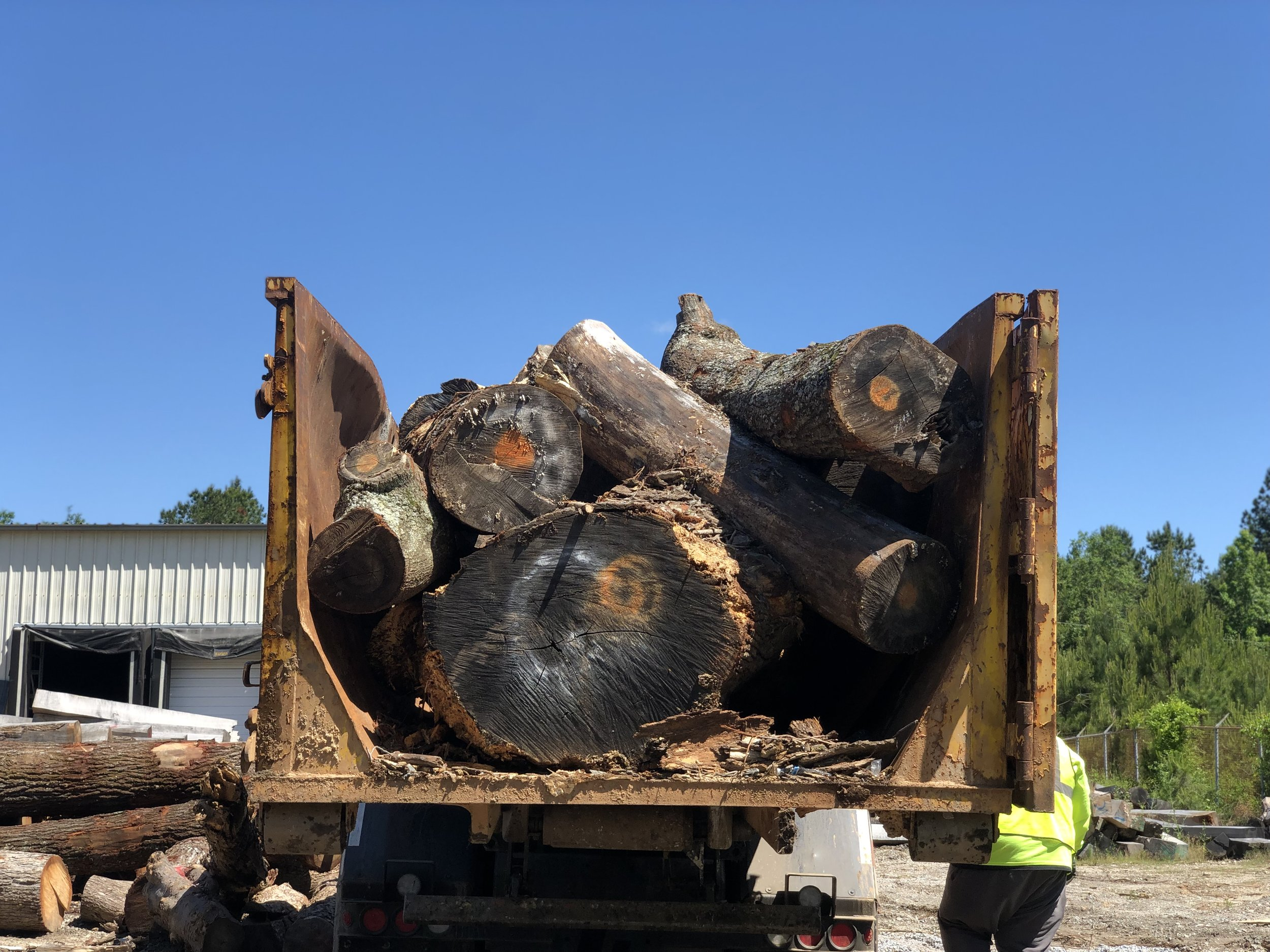 Each log was labeled and inventoried prior to delivery at Eutree.