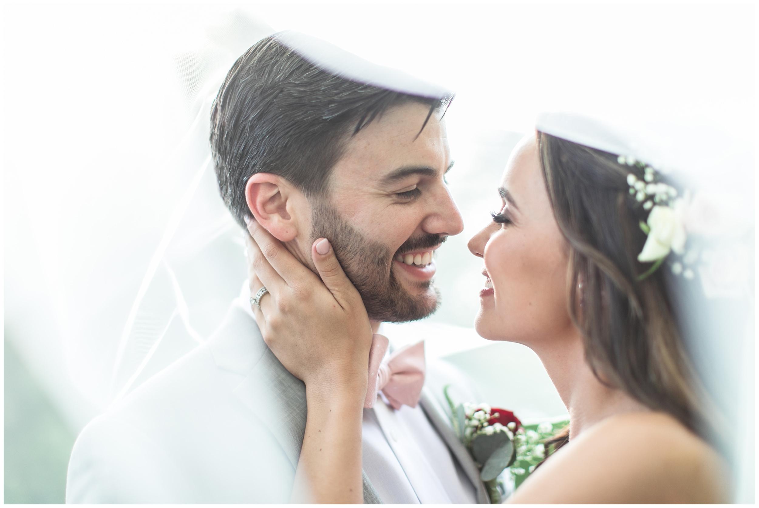 Copy of elegant homestead wilshire ranch wedding bride groom under veil romantic portrait carrie vines