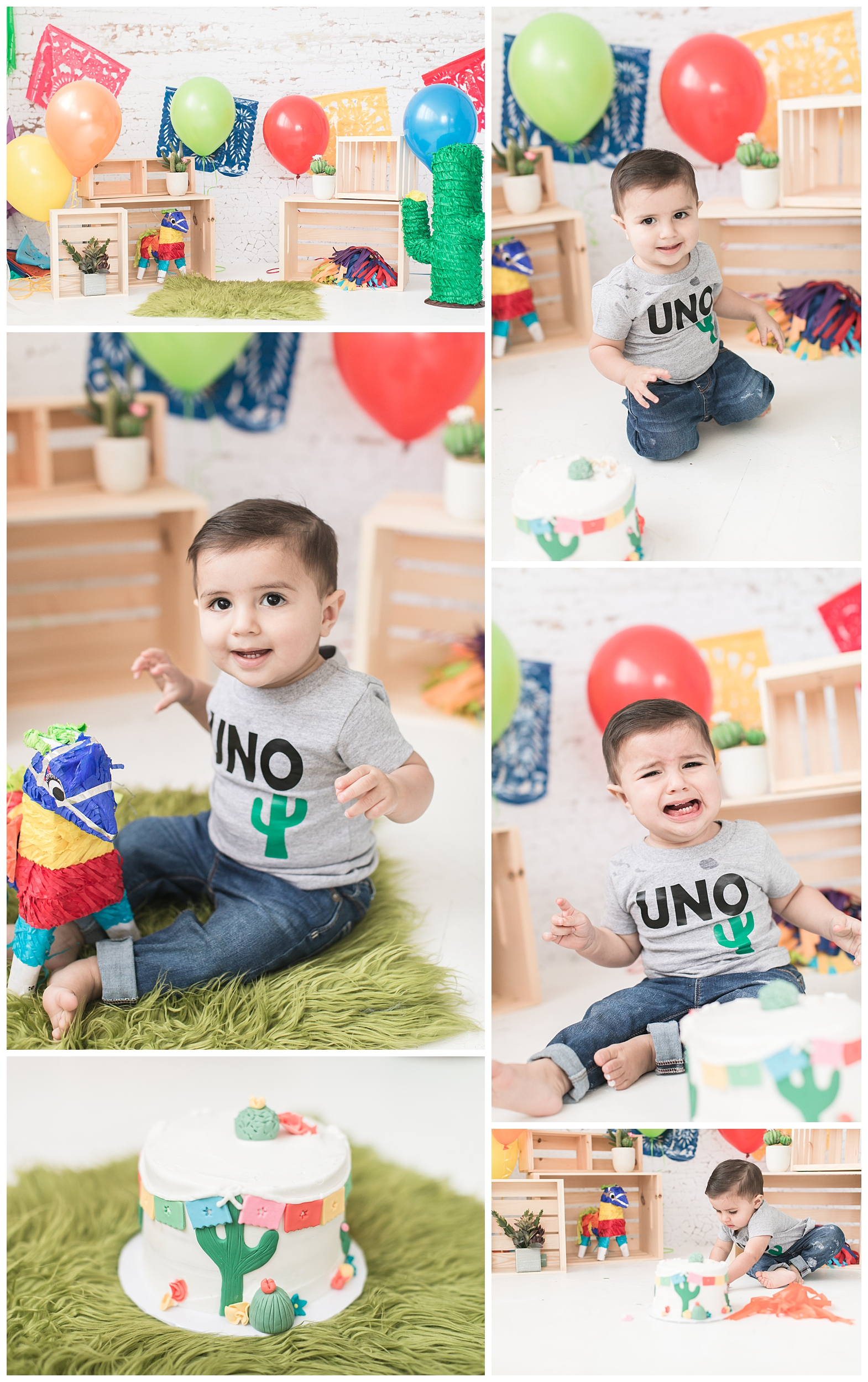 One year old boy enjoying his papel picado cactus cake smash session, carrie vines photography studio in redlands, ca.