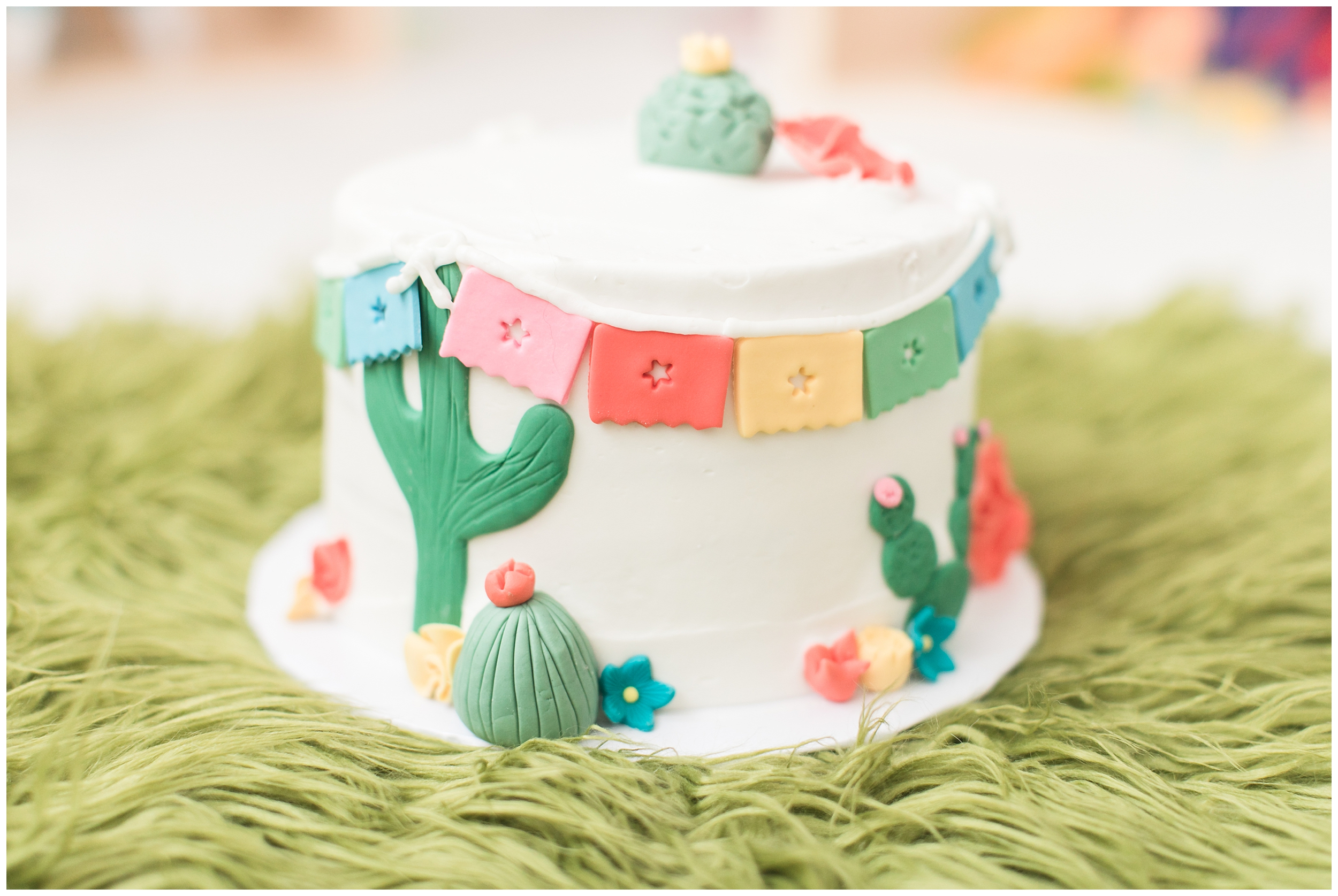 Papel Picado cactus mexican paper flag smash cake by Sweet Pea and Me Bakery in Redlands, Carrie Vines Photography