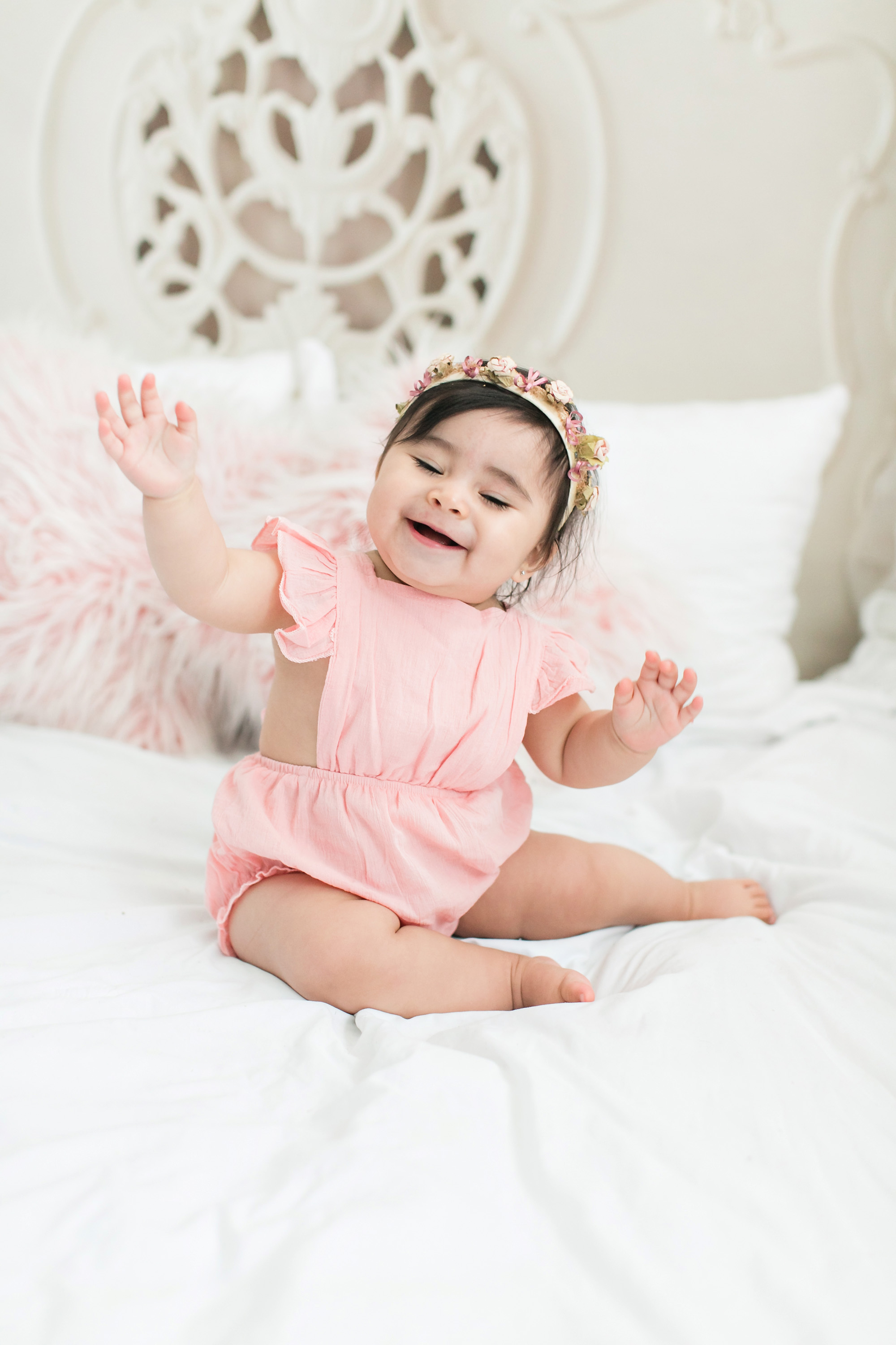 Soft Pink and Green Baby Photo Session Carrie Vines Photography Redlands Baby Photographer