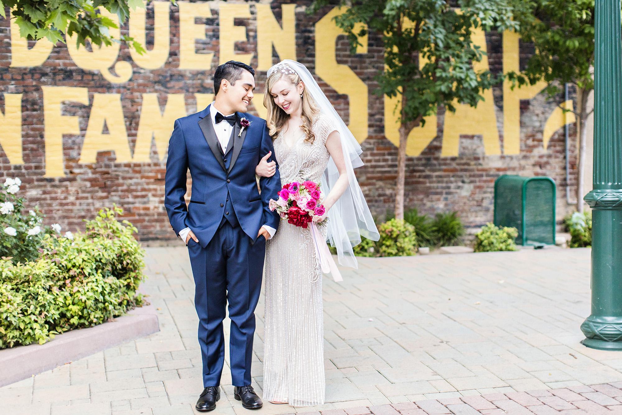 Bride and Groom wedding portraits in downtown Redlands - Speakeasy on State Street wedding