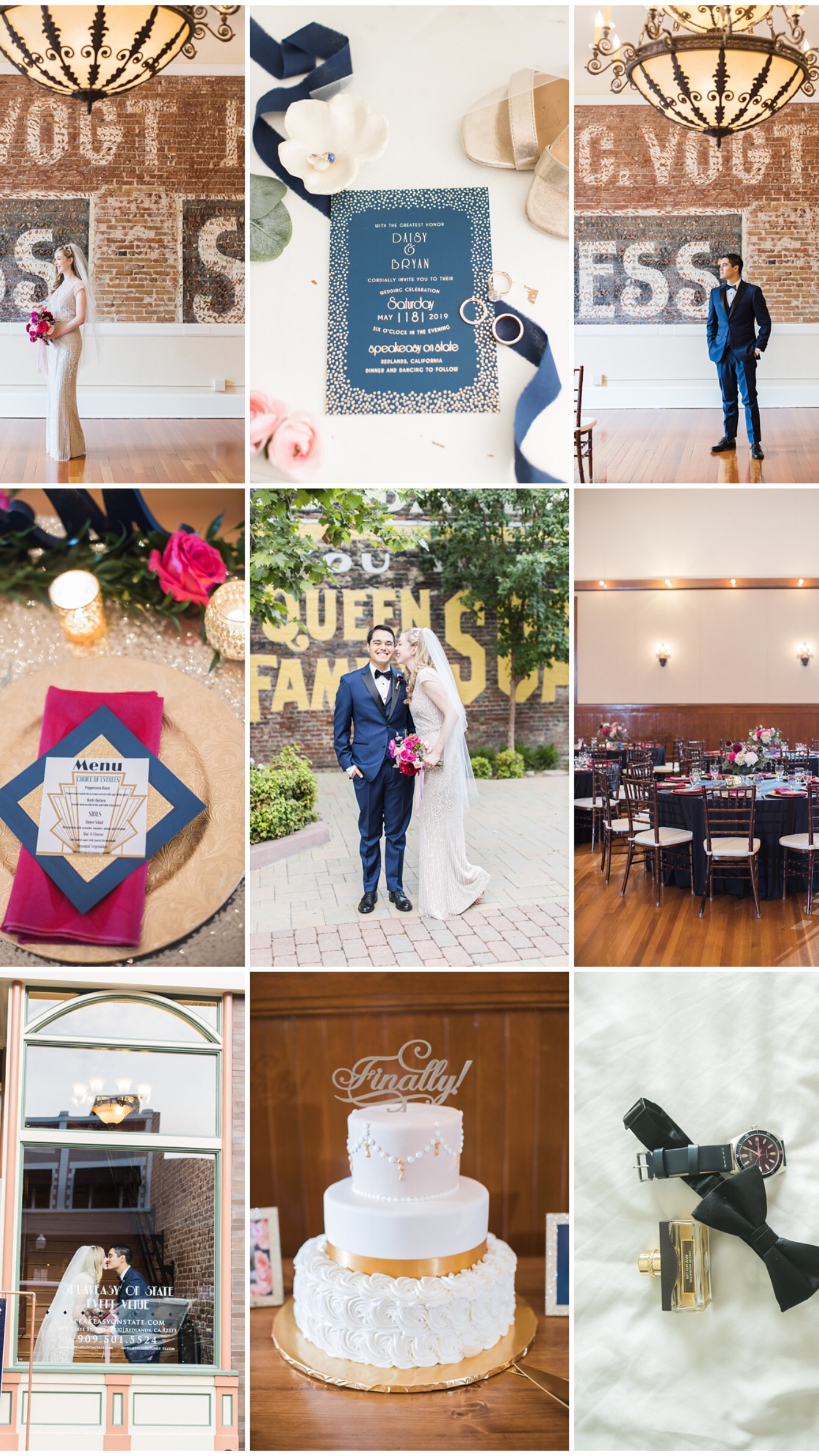 burgundy and navy wedding at the Speakeasy on State in Downtown Redlands by Carrie Vines Photography