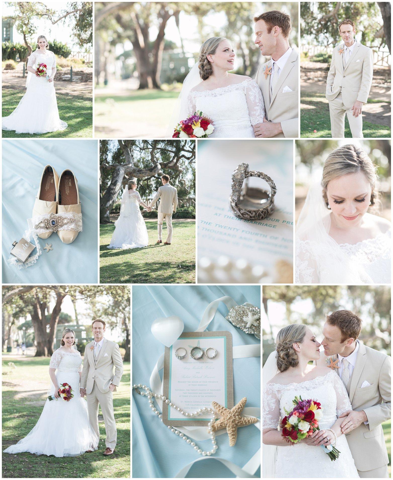 Santa Monica beach themed wedding, blue accents, starfish, Carrie Vines Photography