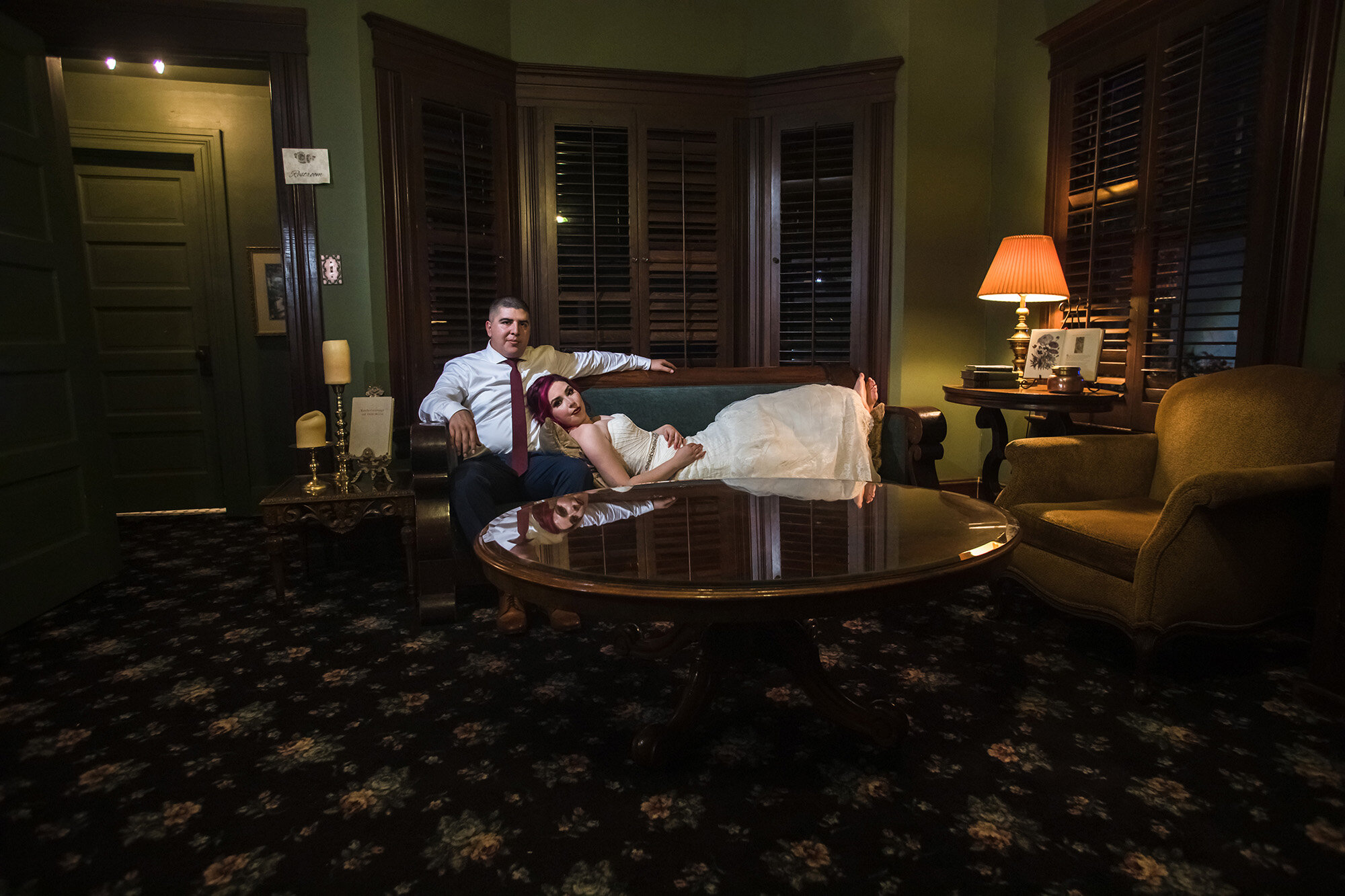 Bride and Groom Christmas House library portrait Carrie Vines Photography