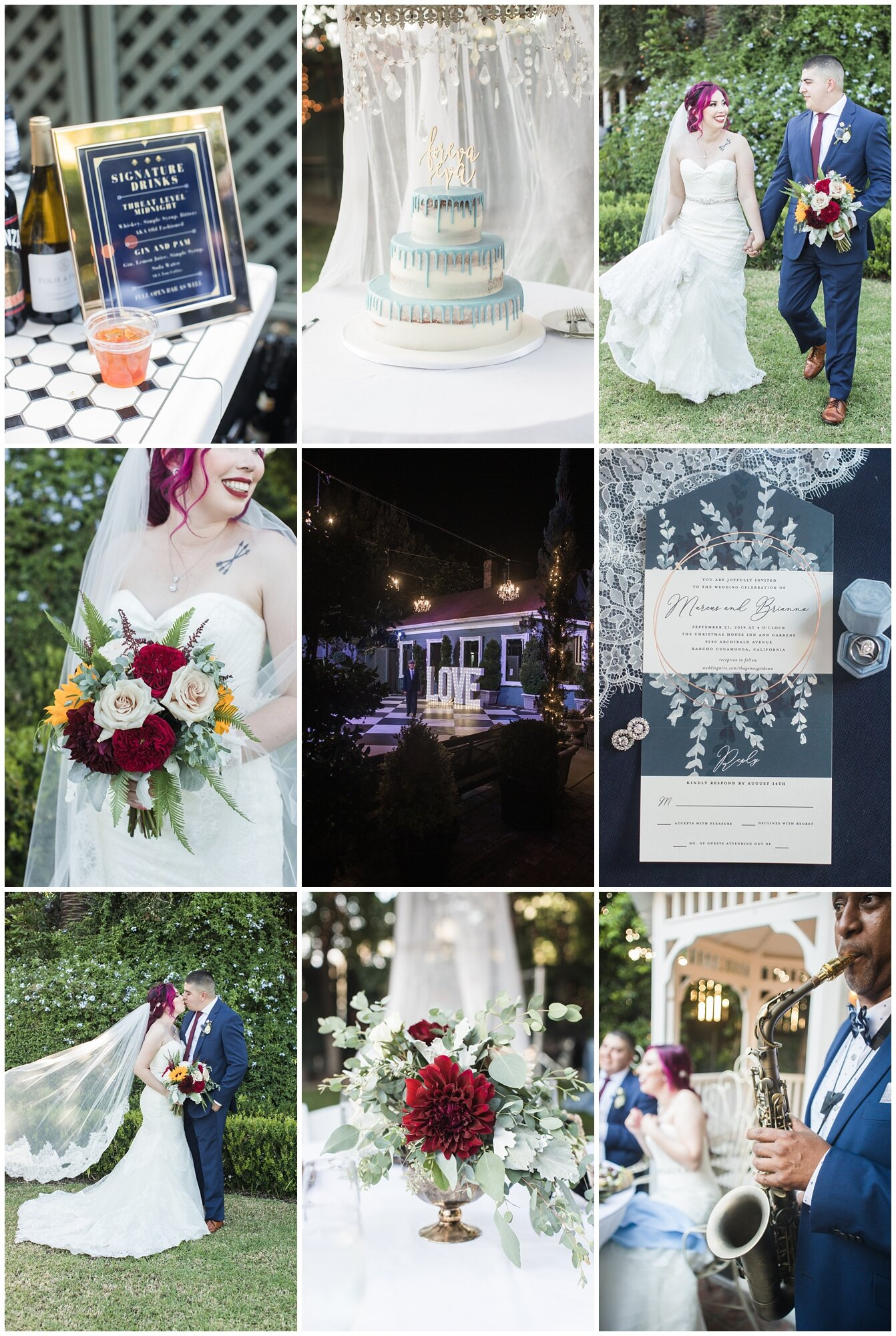 Blue and maroon garden wedding christmas House carrie vines photography