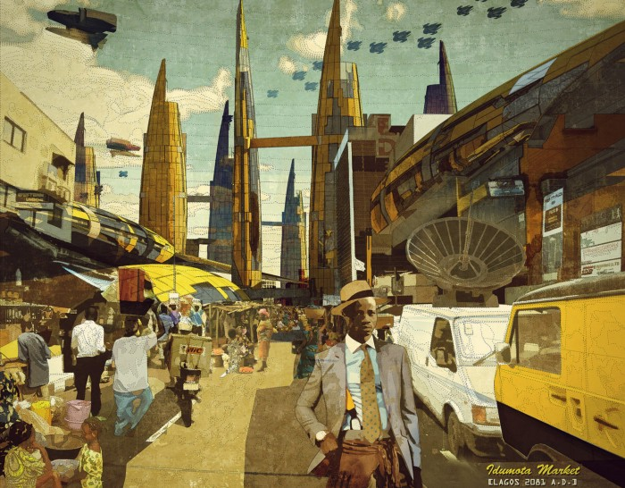 New Lagos (could be New Kolkata) — as depicted by Ikire Jones '13 collection — Illustration —  Lekan Jeyifo