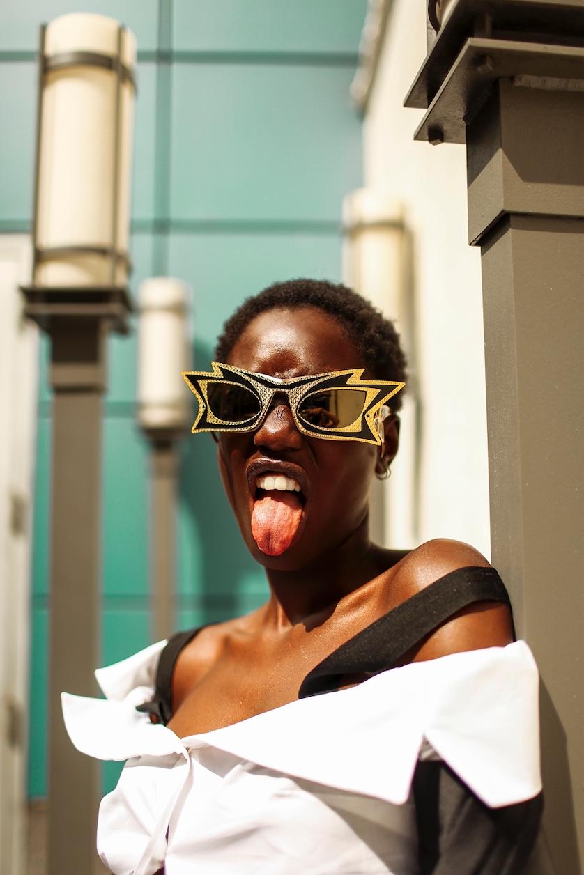 Eyewear: PARASITE EYEWEAR | Top: MIRIMALIST