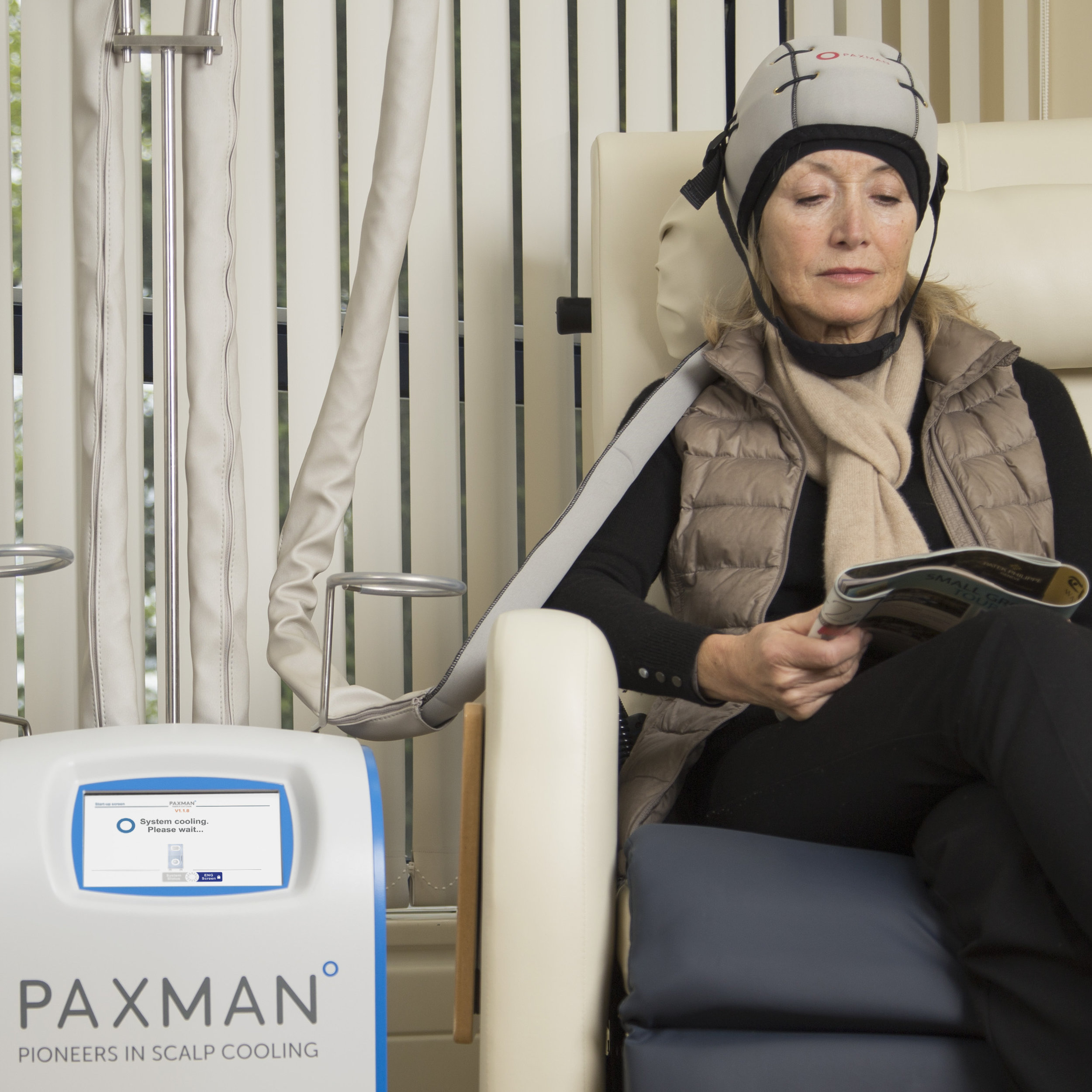 Photo courtesy of    Paxman Scalp Cooling