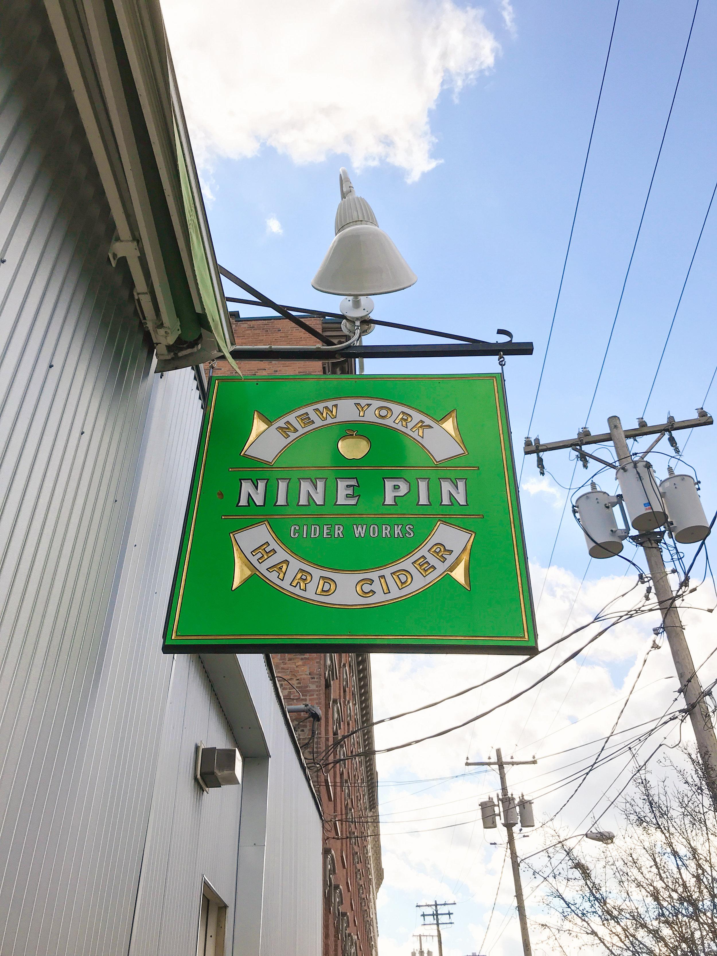 Sign outside of Nine Pin's tasting room