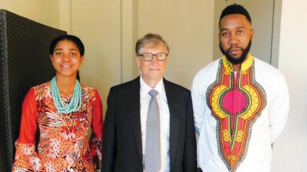 Zuriel Oduwole, Bill Gates, Ndaba Mandela at Printemps Solidaire.png